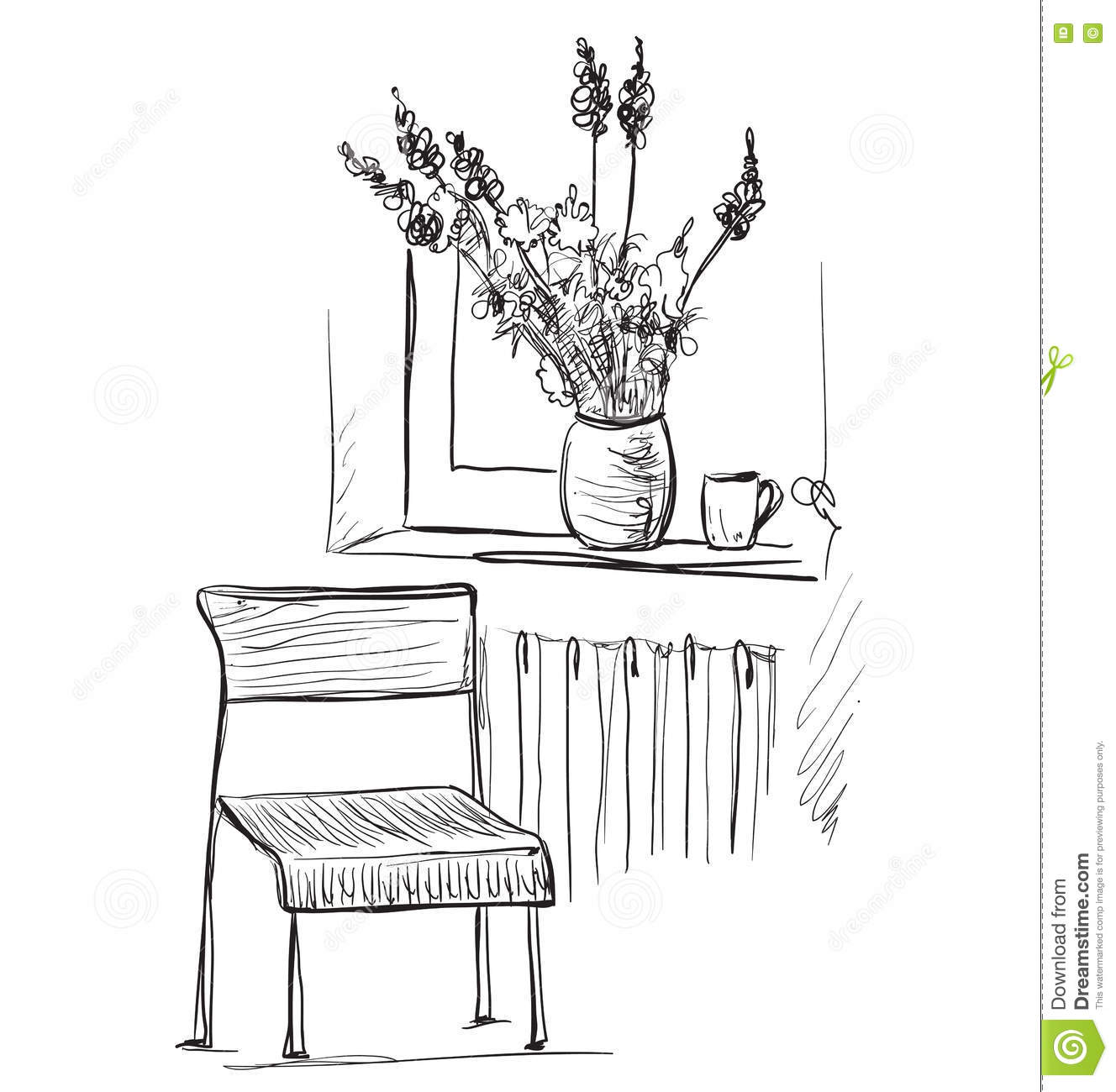 Room Interior Sketch. Hand Drawn Chair And Window Stock