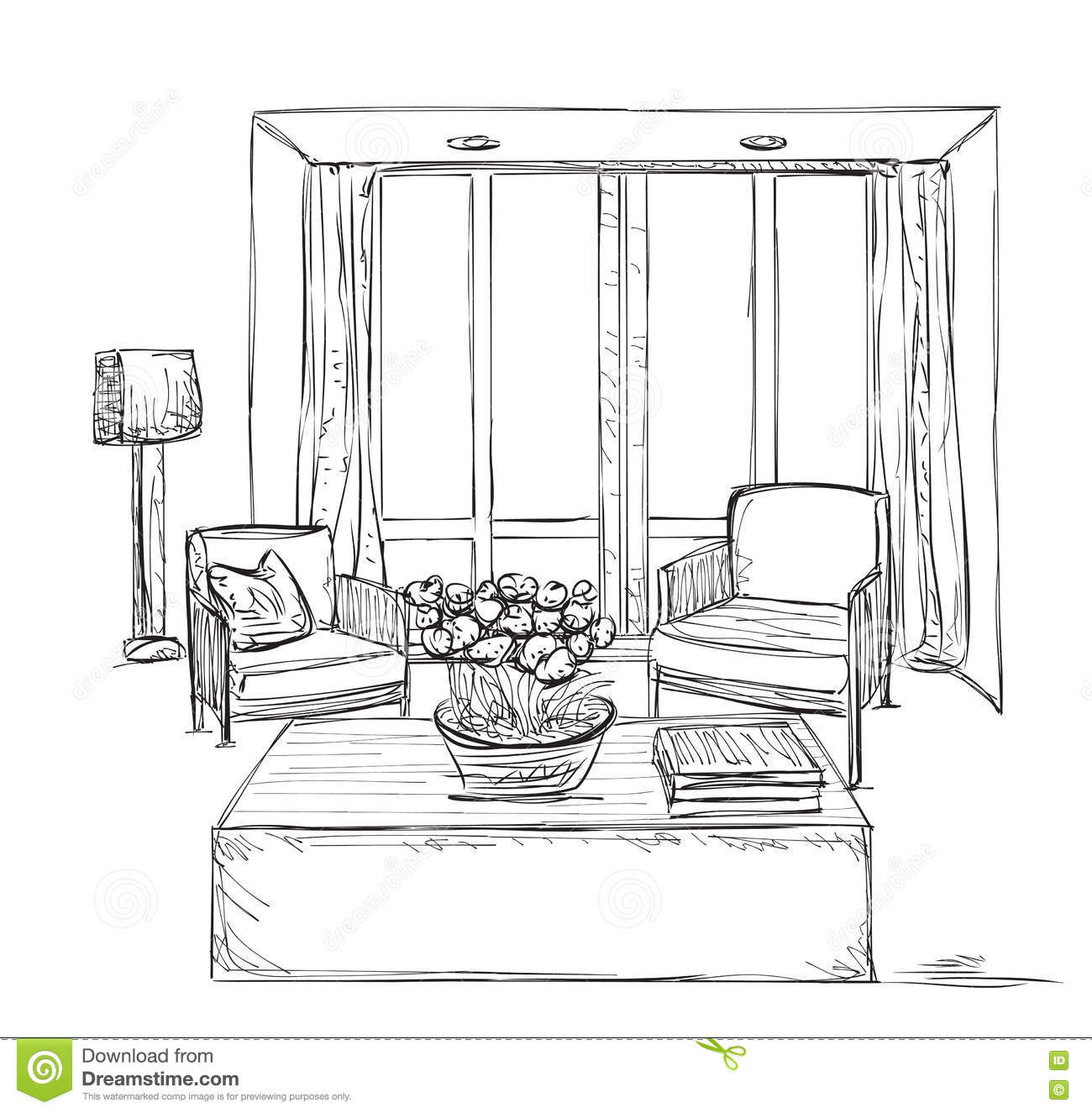 Room Interior Sketch  Hand Drawn Chairs  Stock Vector