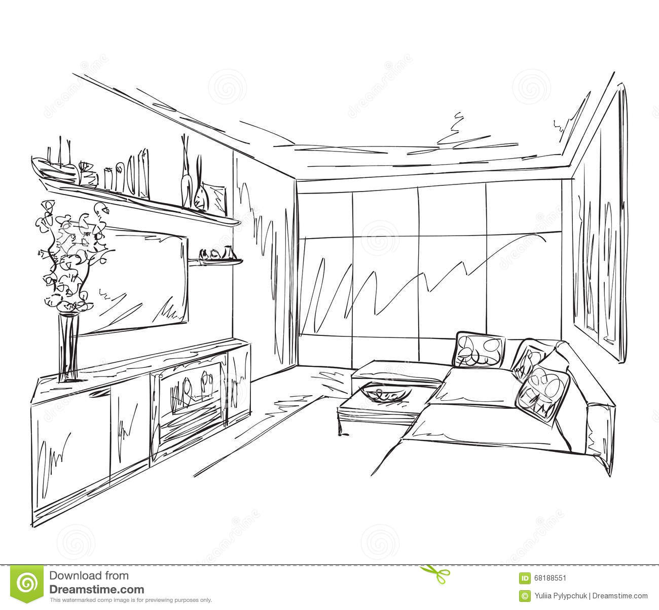 Room Interior Sketch. Hand Drawn Sofa And Chair Stock