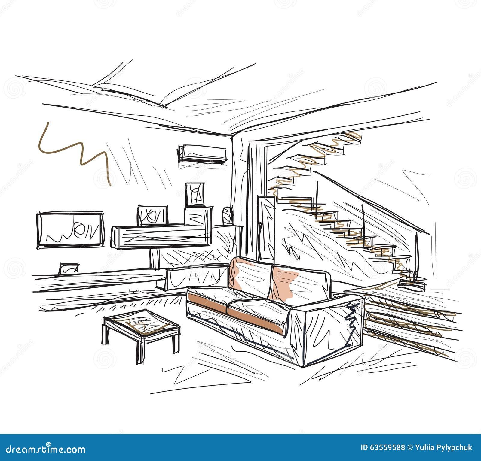 Room interior sketch stock vector image 63559588 for Living room interior sketch