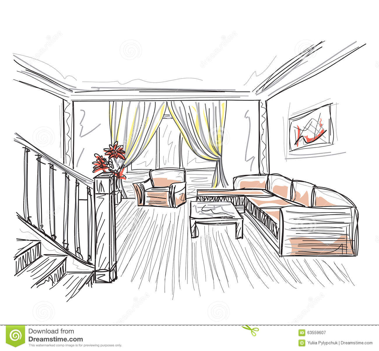 Room interior sketch stock vector image 63559607 Room sketches interior design