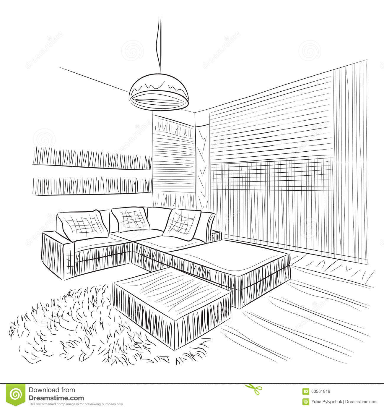 Room Interior Sketch Stock Vector