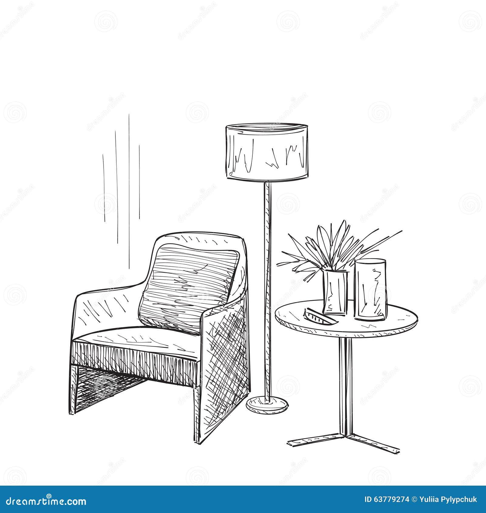 Room Interior Sketch Stock Vector Image
