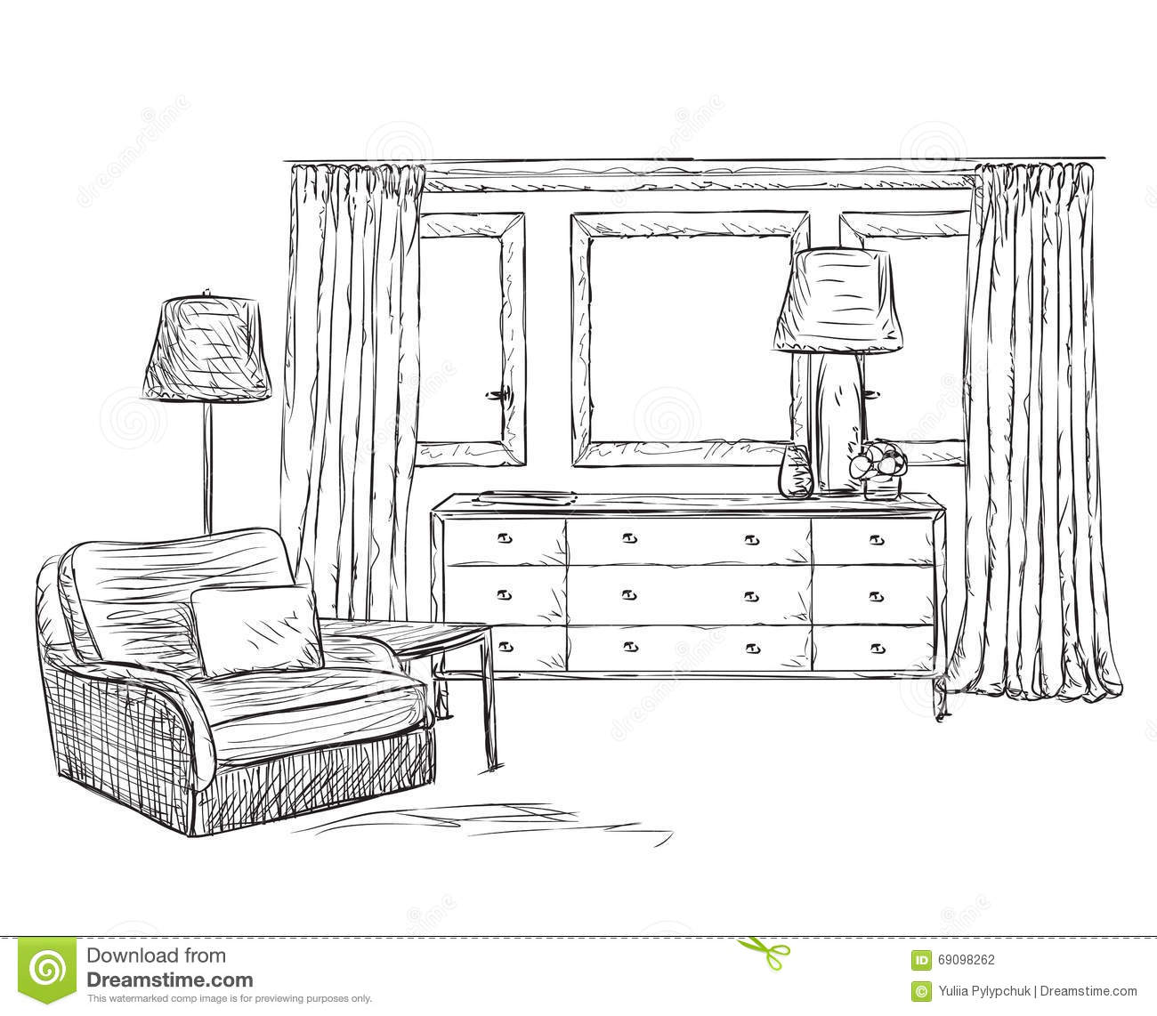drawn furniture hand interior room sketch ...