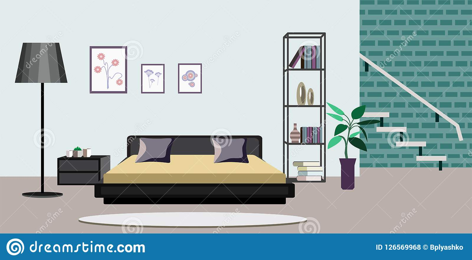 Room Interior Vector Illustration Of Old Or Modern Apartments Living Room With Furniture Flat Cartoon Banners Design With Sofa Stock Vector Illustration Of Houseplants Apartment 126569968