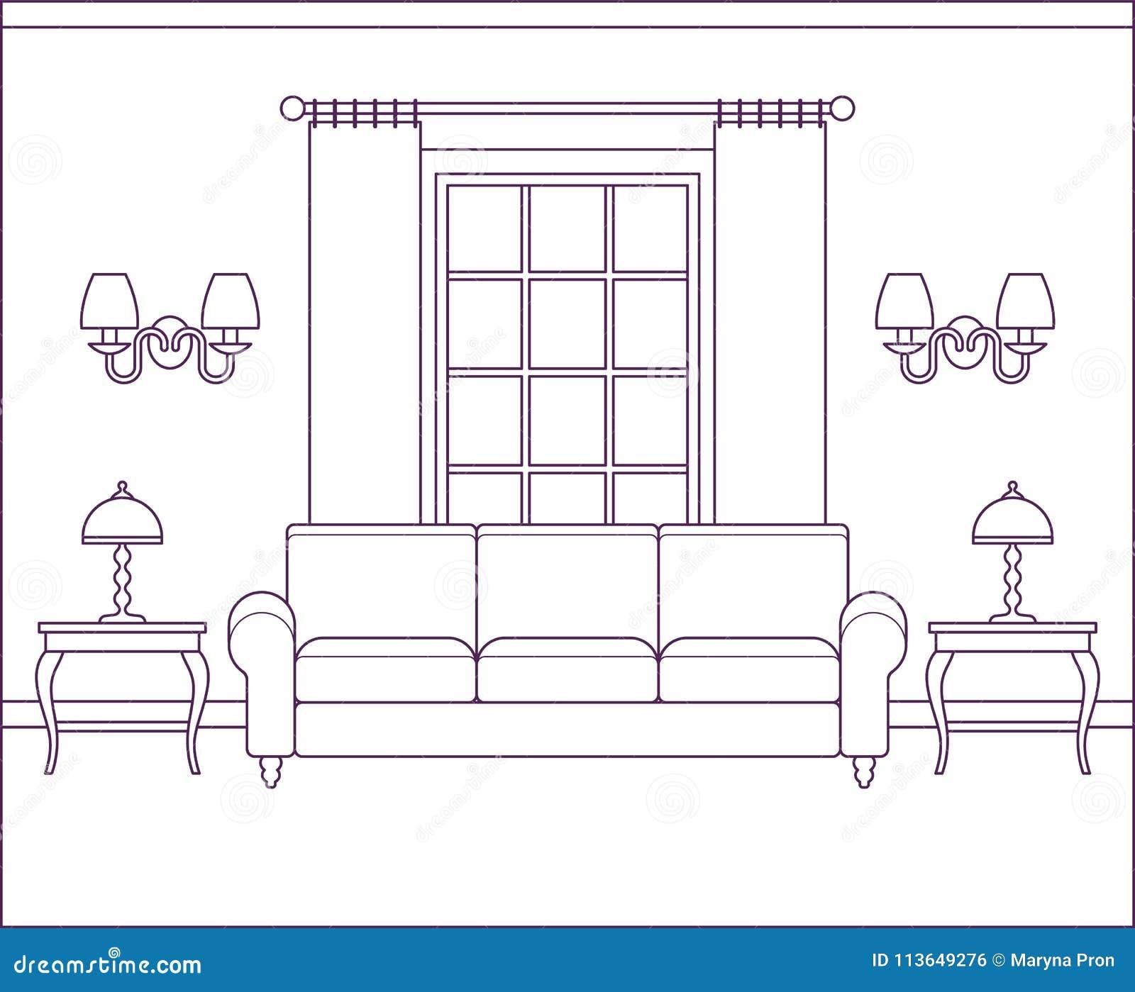 Living Room Interior In Flat Design. Linear Vector Illustration ...