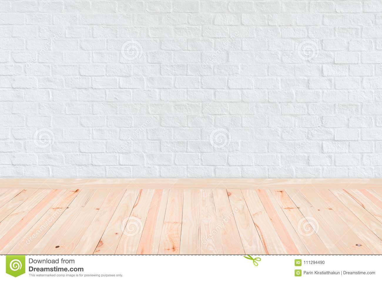 Room Interior Vintage With White Brick Wall And Wood Floor Background Stock Photo Image Of Decorative Light 111294490