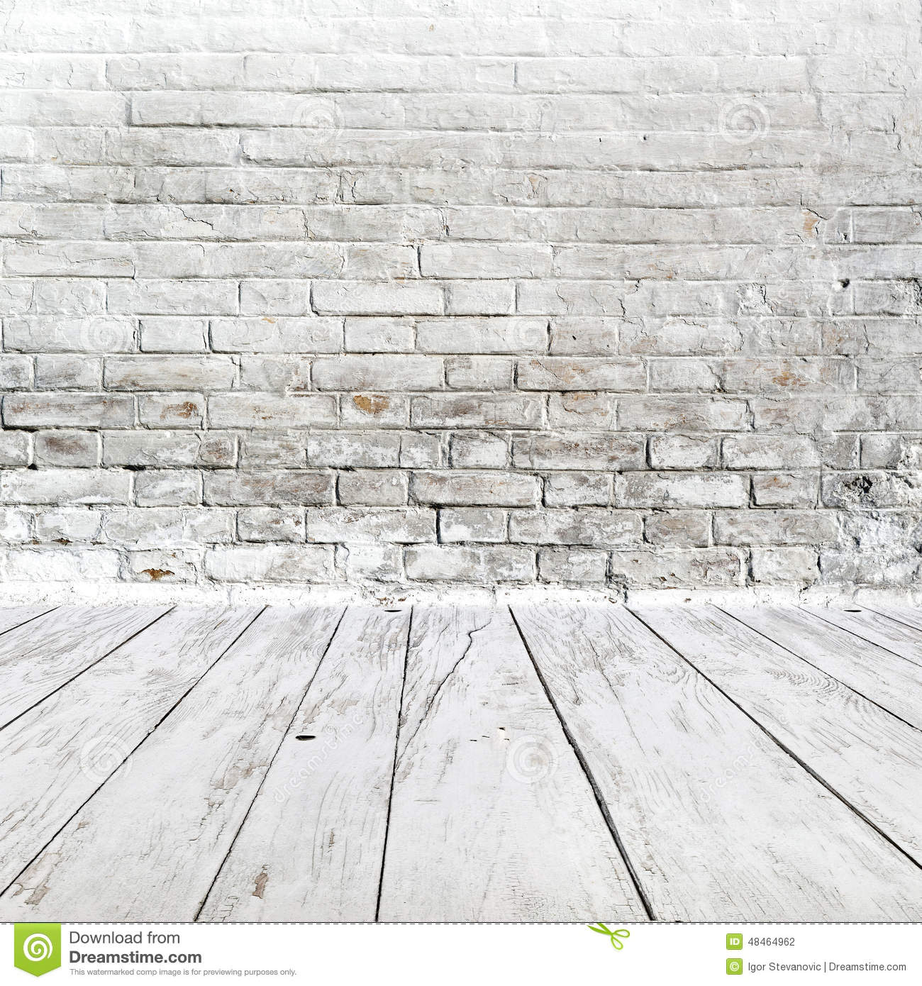 Interior Brick Flooring Pricing : Room interior with white brick wall and wood floor stock