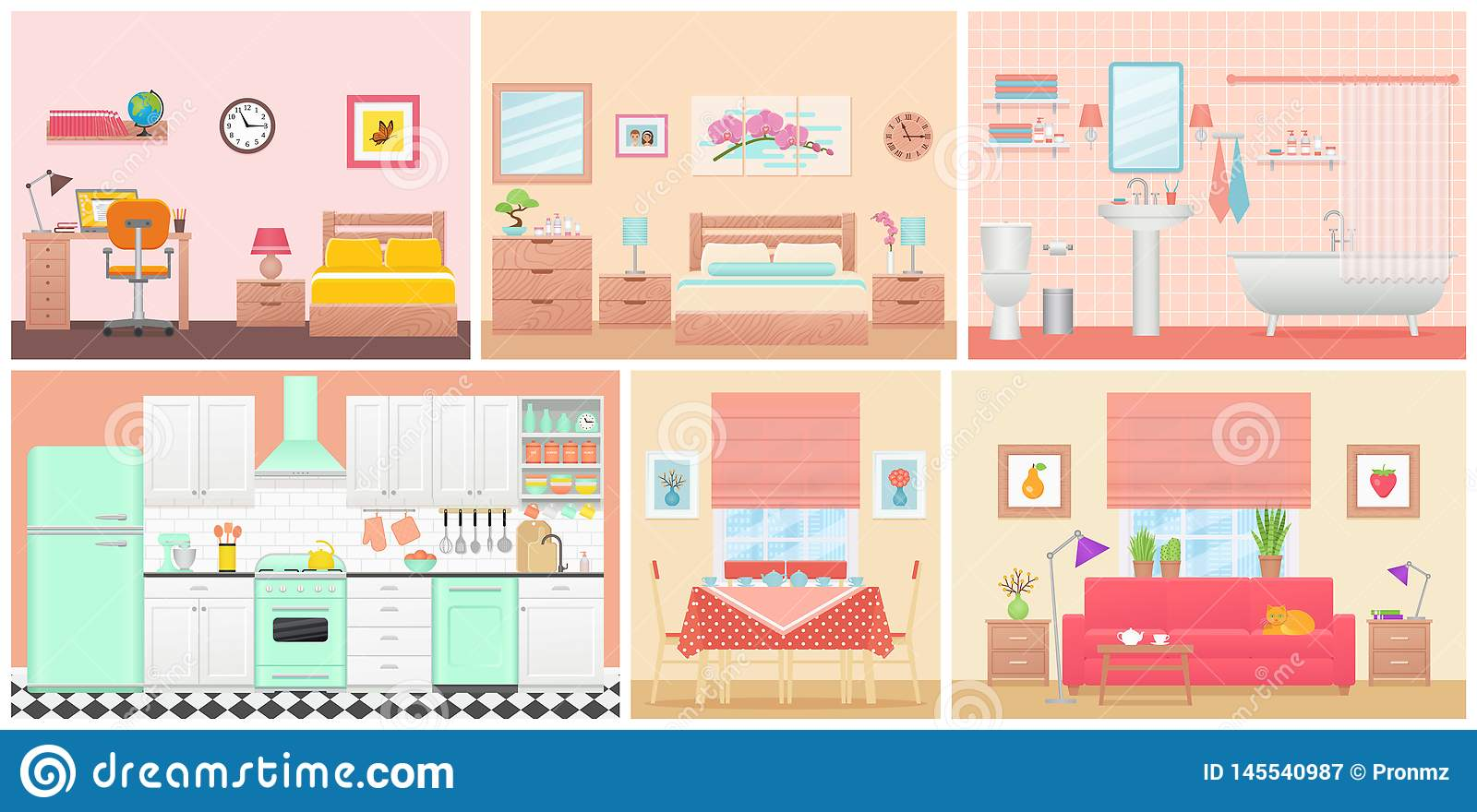 Room Interiors Vector Illustration In Flat Design Cartoon