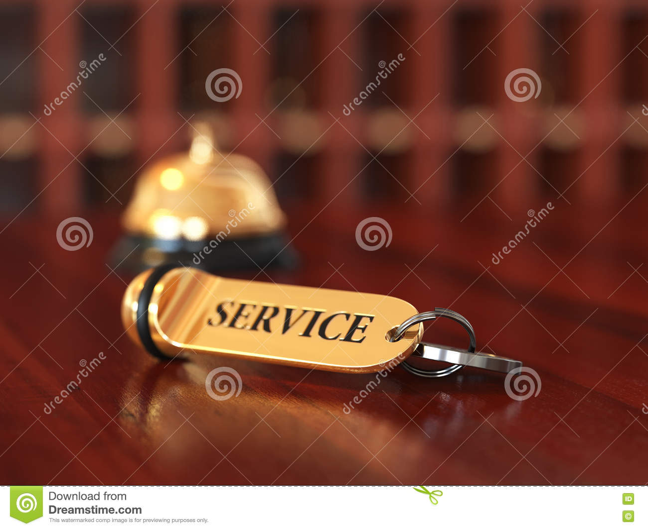 Room key with golden keychain service concept on the wooden back