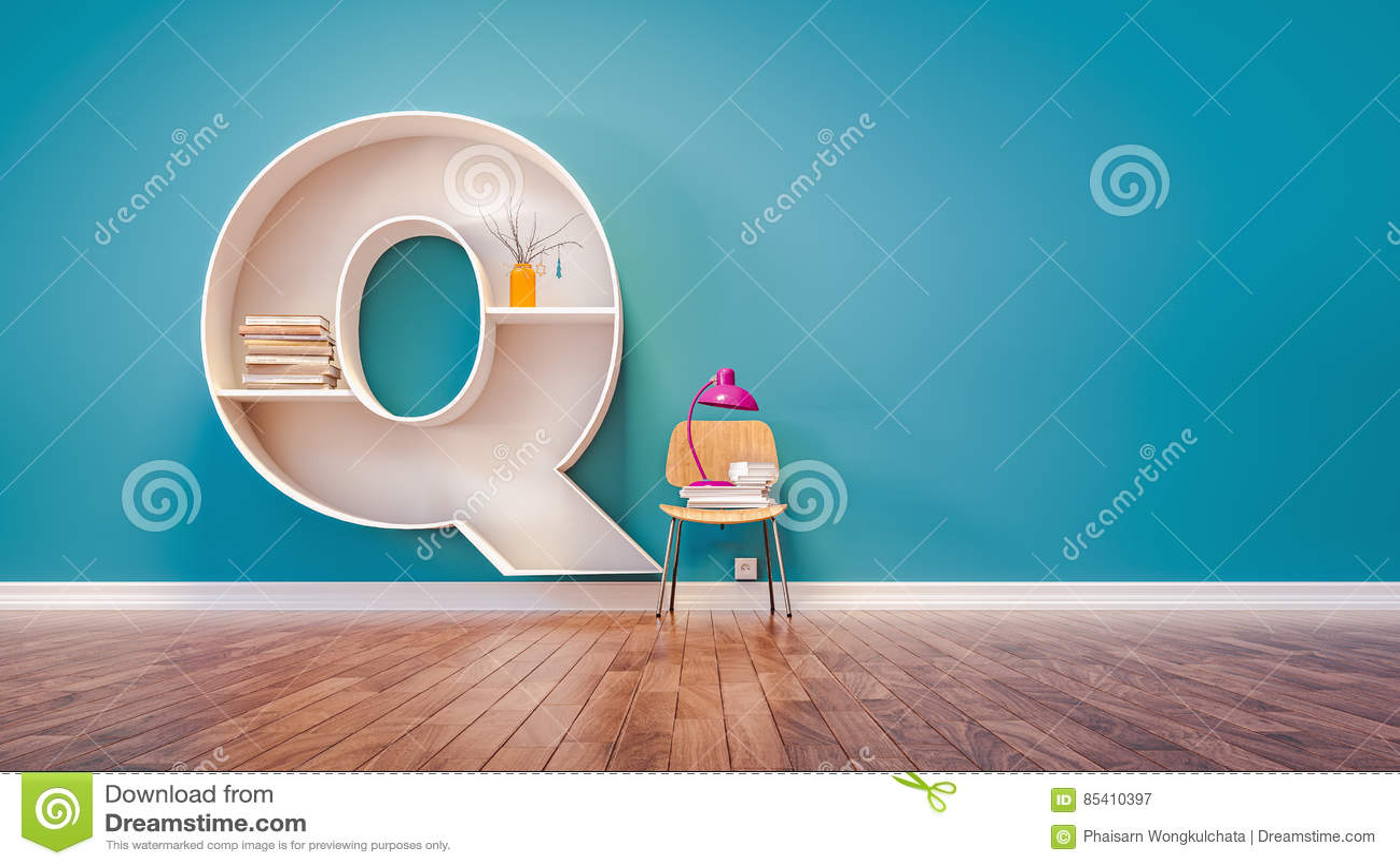 Download Room For Learning The Letter Q Has Designed A Bookshelf Stock Illustration