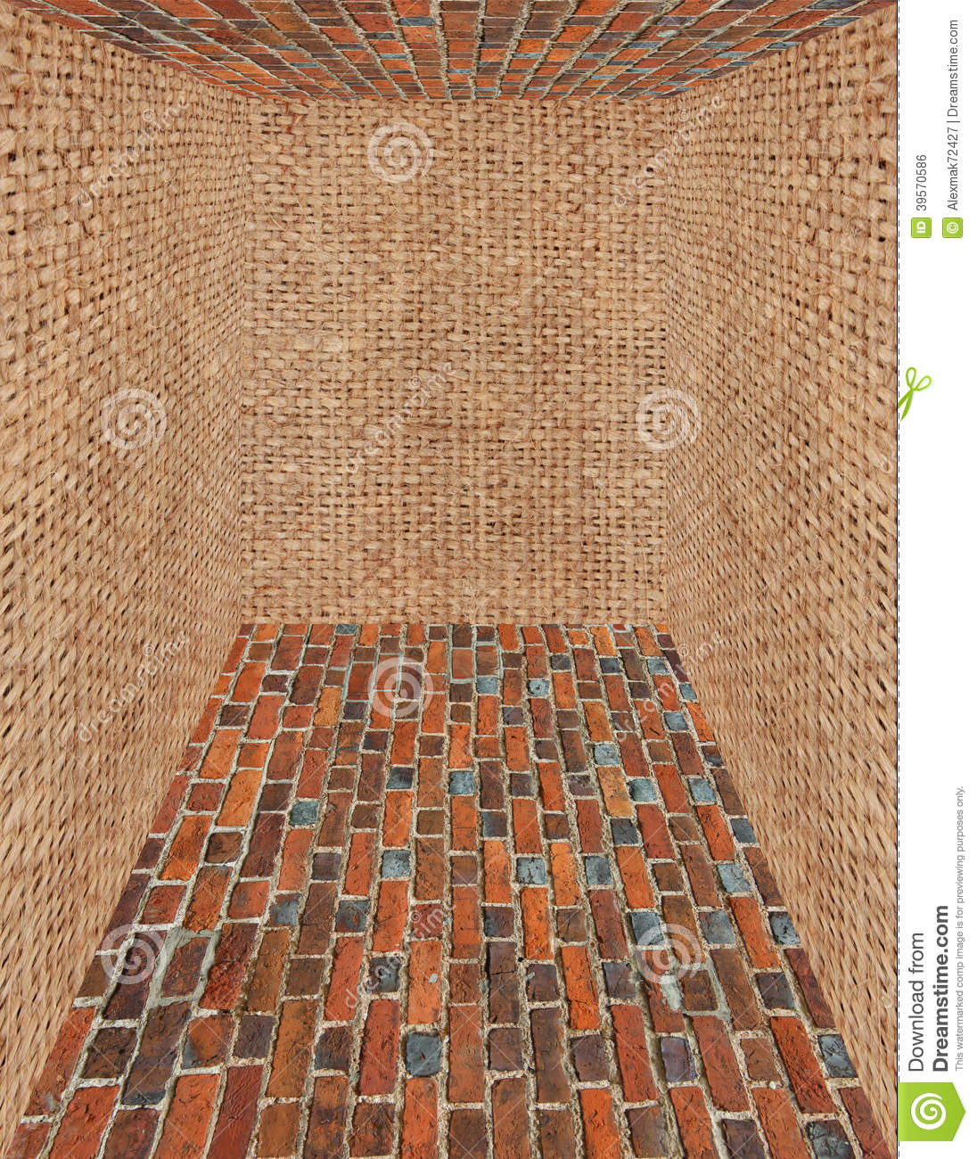 Room Made From Brick And Sack Walls Stock Photo Image Of