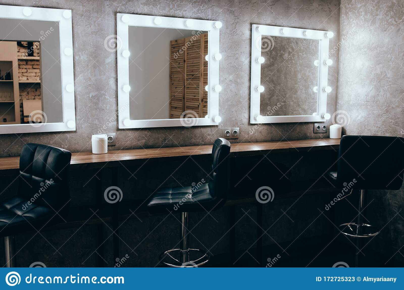 Room With Makeup Mirror Lights Stock Image Image Of Bright Makeup 172725323