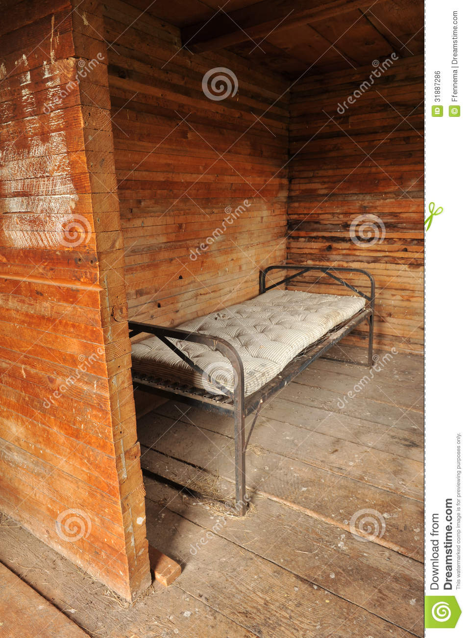 room with a metal bed frame and old mattress stock photo image 31887286. Black Bedroom Furniture Sets. Home Design Ideas