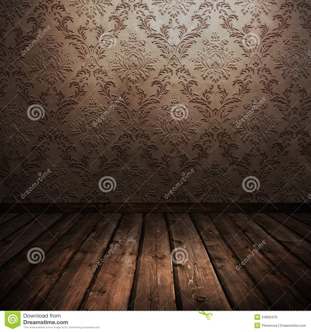 Room with old wallpaper