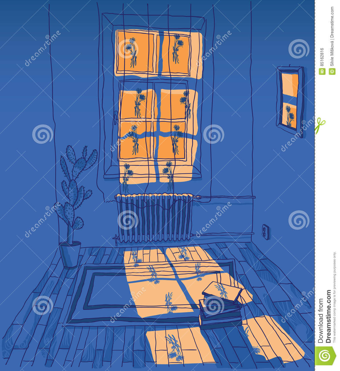 Room With Outside Lighting Stock Vector. Illustration Of