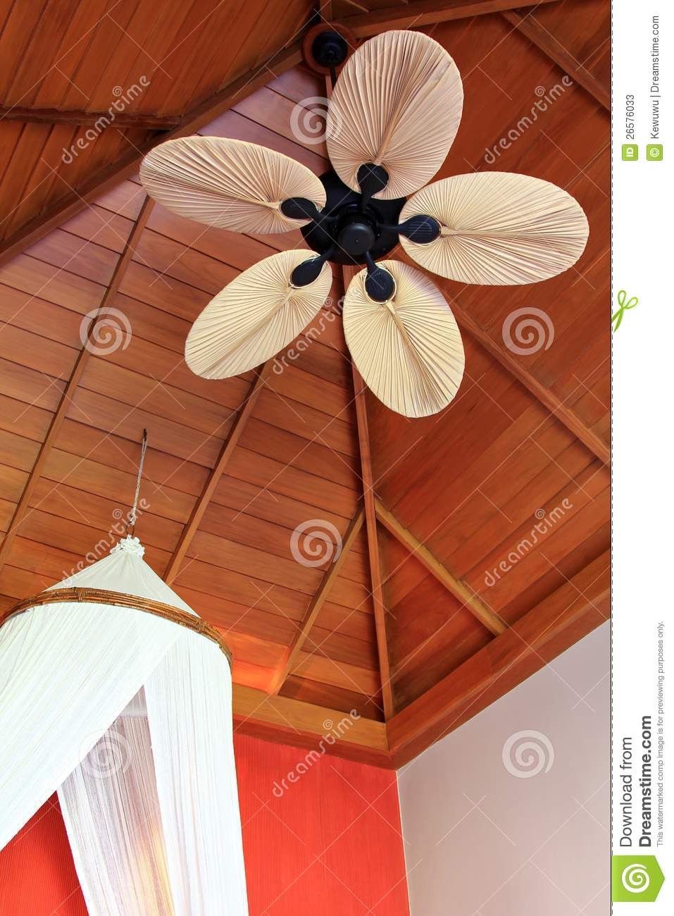 A Room With Palm Leaf Shaped Ceiling Fan Blade Stock Image Image Of Object Decor 26576033