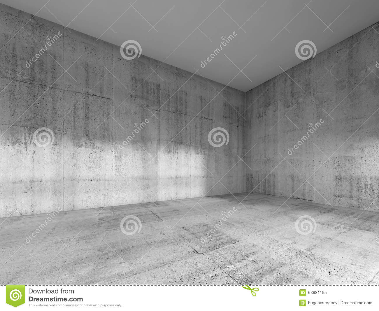 Room With Rough Concrete Walls And White Ceiling