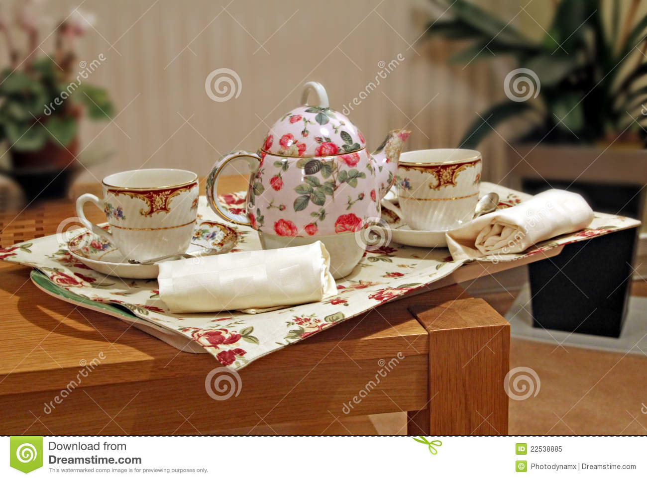 Room Service: Room Service Tea Tray Stock Image. Image Of Afternoon