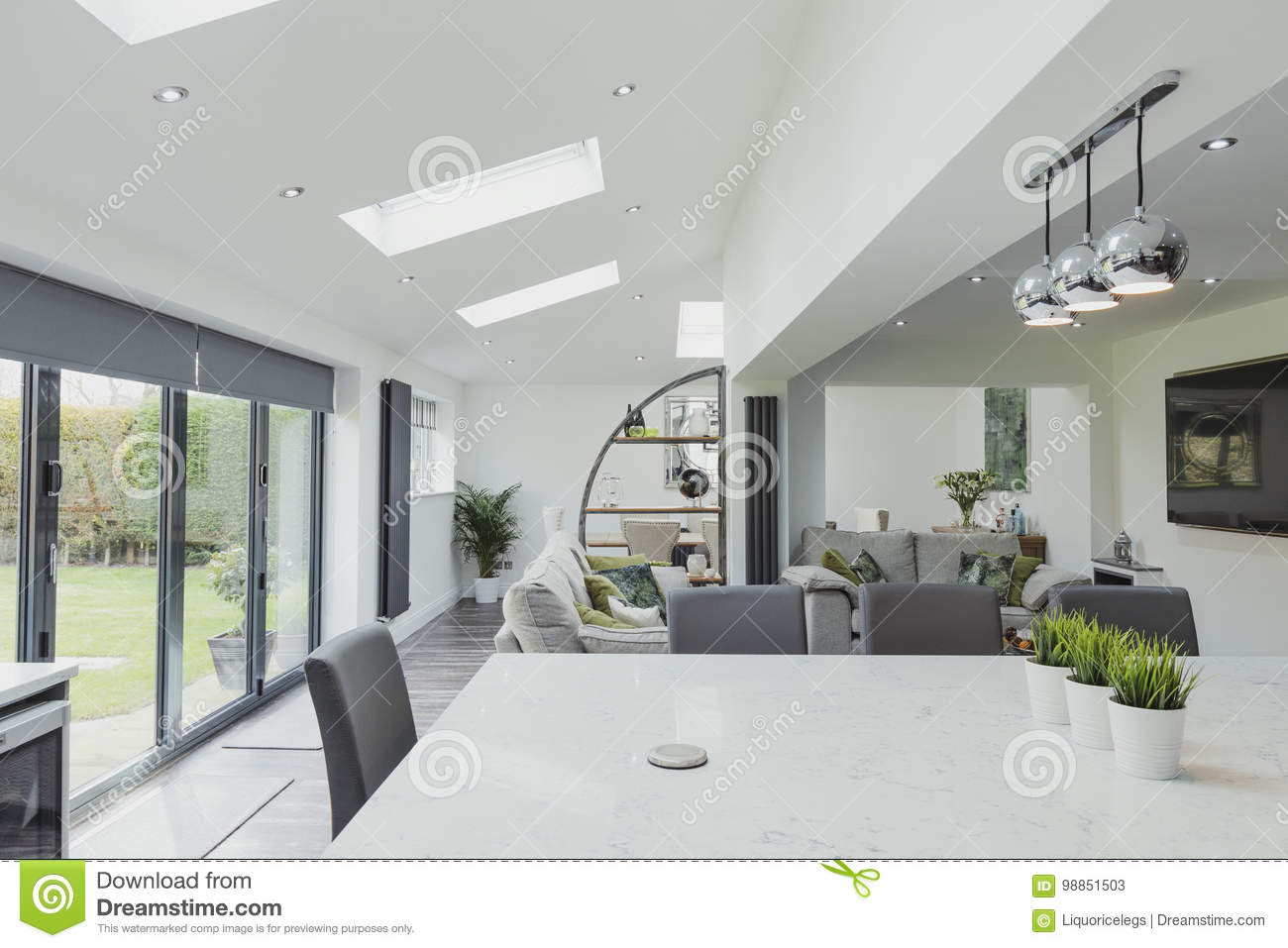 Beautiful Contemporary Kitchen And Living Room Stock Image ...