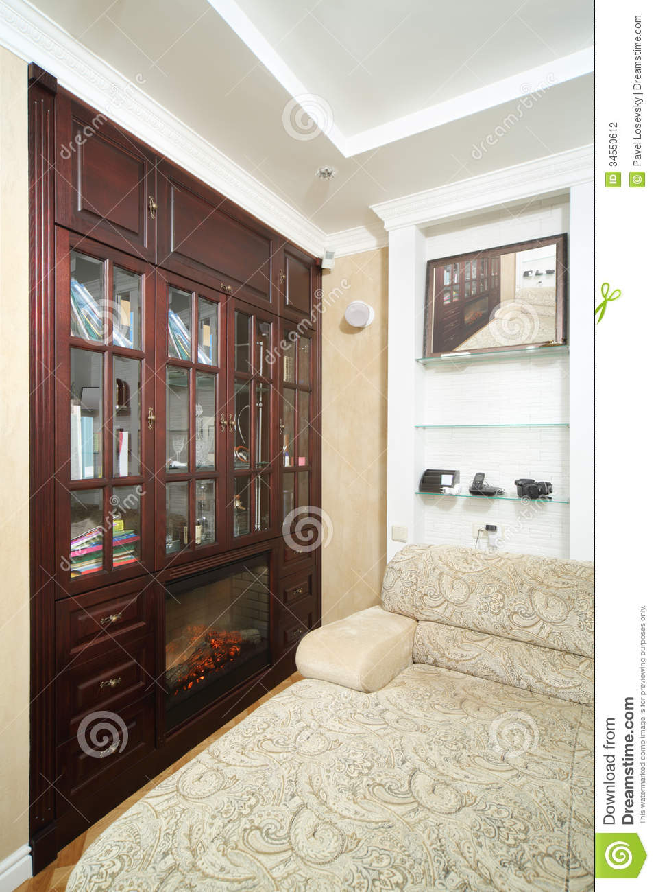 Room With Sofa Big Wooden Bookcase With Fireplace Stock