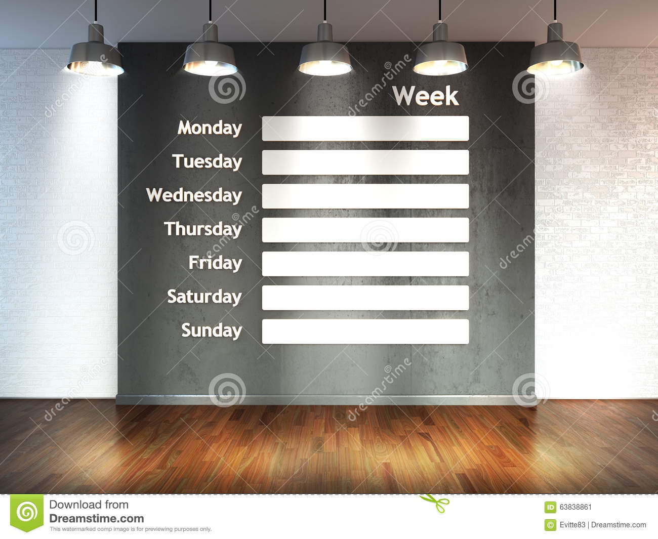 Room with spotlight lamps, empty 3d space with wooden floor and brick wall as background with wall calendar. Schedule memo manag