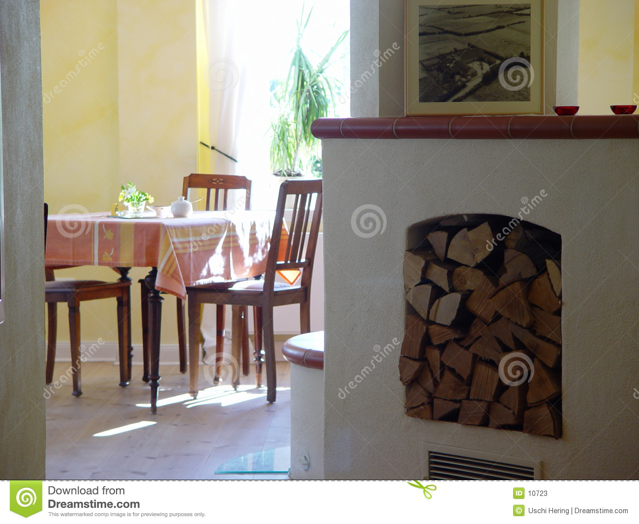 room with stove