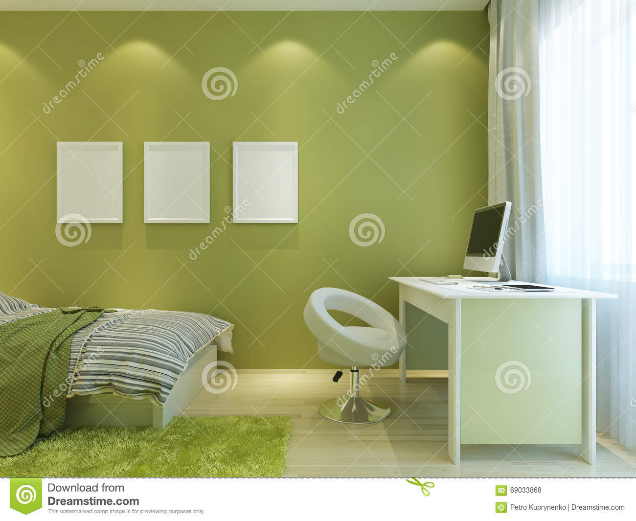 Room For A Teenager In A Modern Style With Mockup Posters On The ...