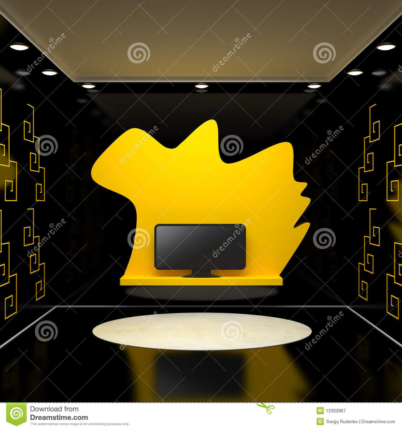 Room With Tv And Black Walls Stock Illustration - Illustration of ...