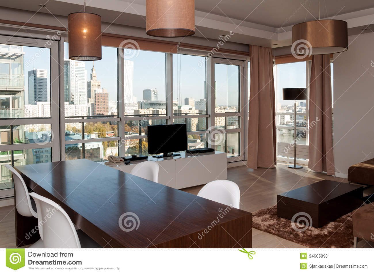 Room View In Skyscraper Apartment Stock Photo Image