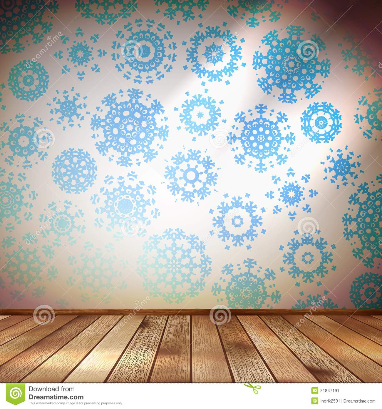 Room Wall With Snowflakes Wallpaper. EPS 10 Stock Image