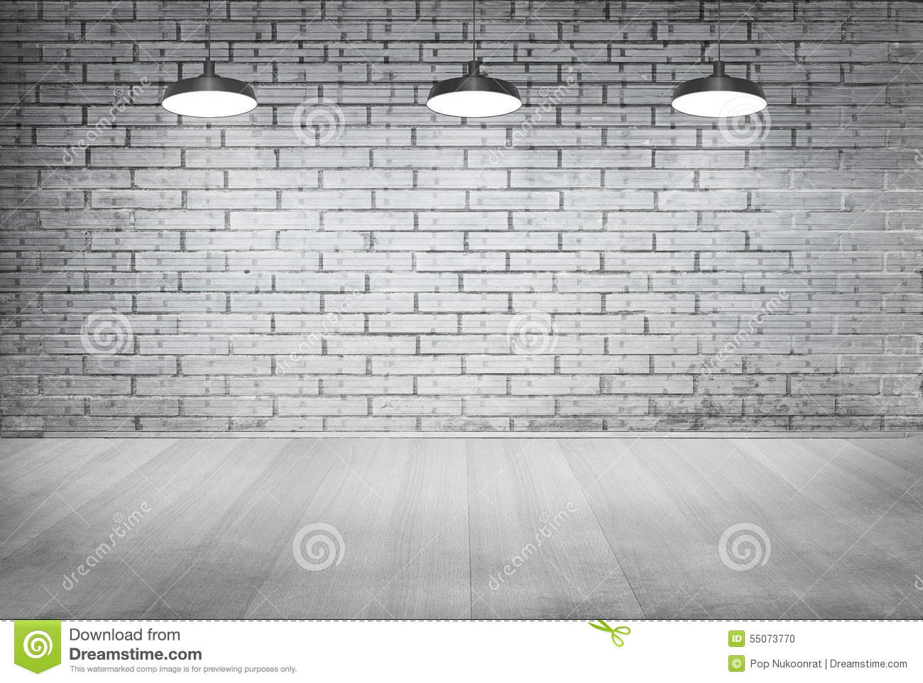 Room White Brick Grunge Wall And Wood Floor With Ceiling