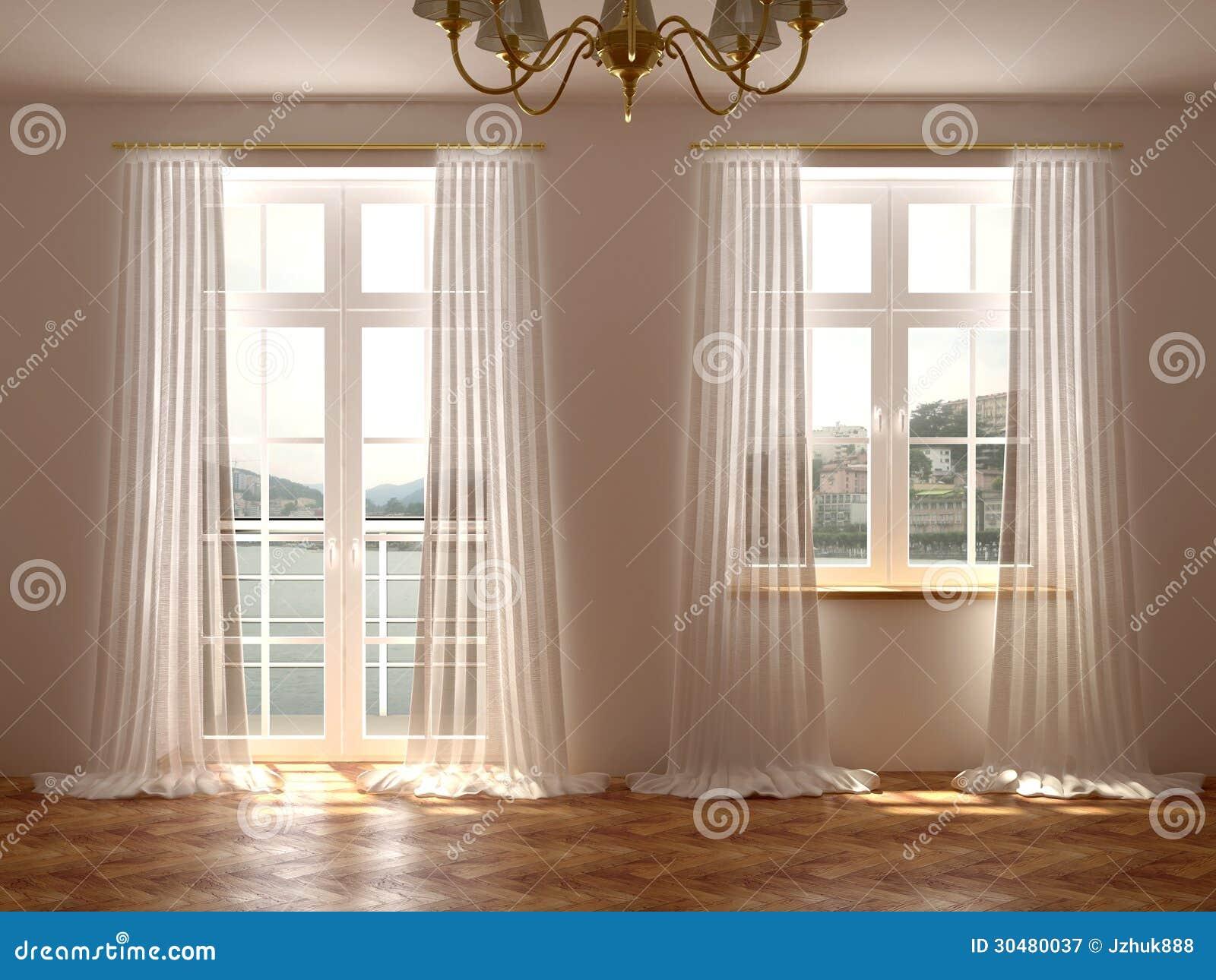 room with windows and balcony door royalty free stock