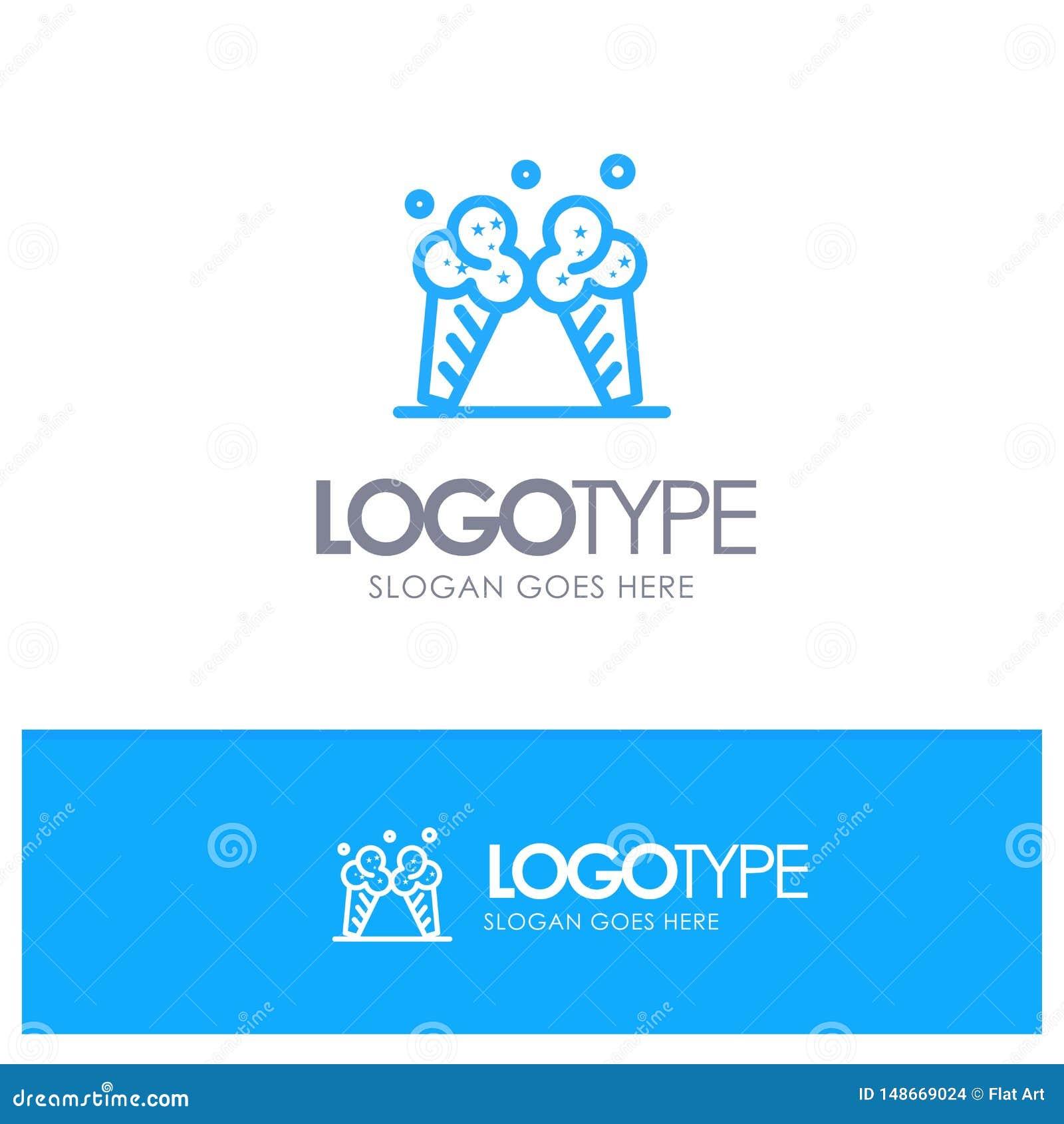 Roomijs, Ijs, Room, Amerikaans Blauw Overzicht Logo Place voor Tagline