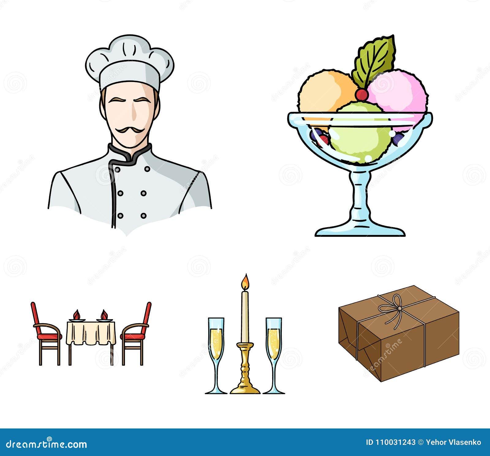 Roomijs met fruit, chef-kok, kaars en glazen, een behandelde lijst Pictogrammen van de restaurant de vastgestelde inzameling in d
