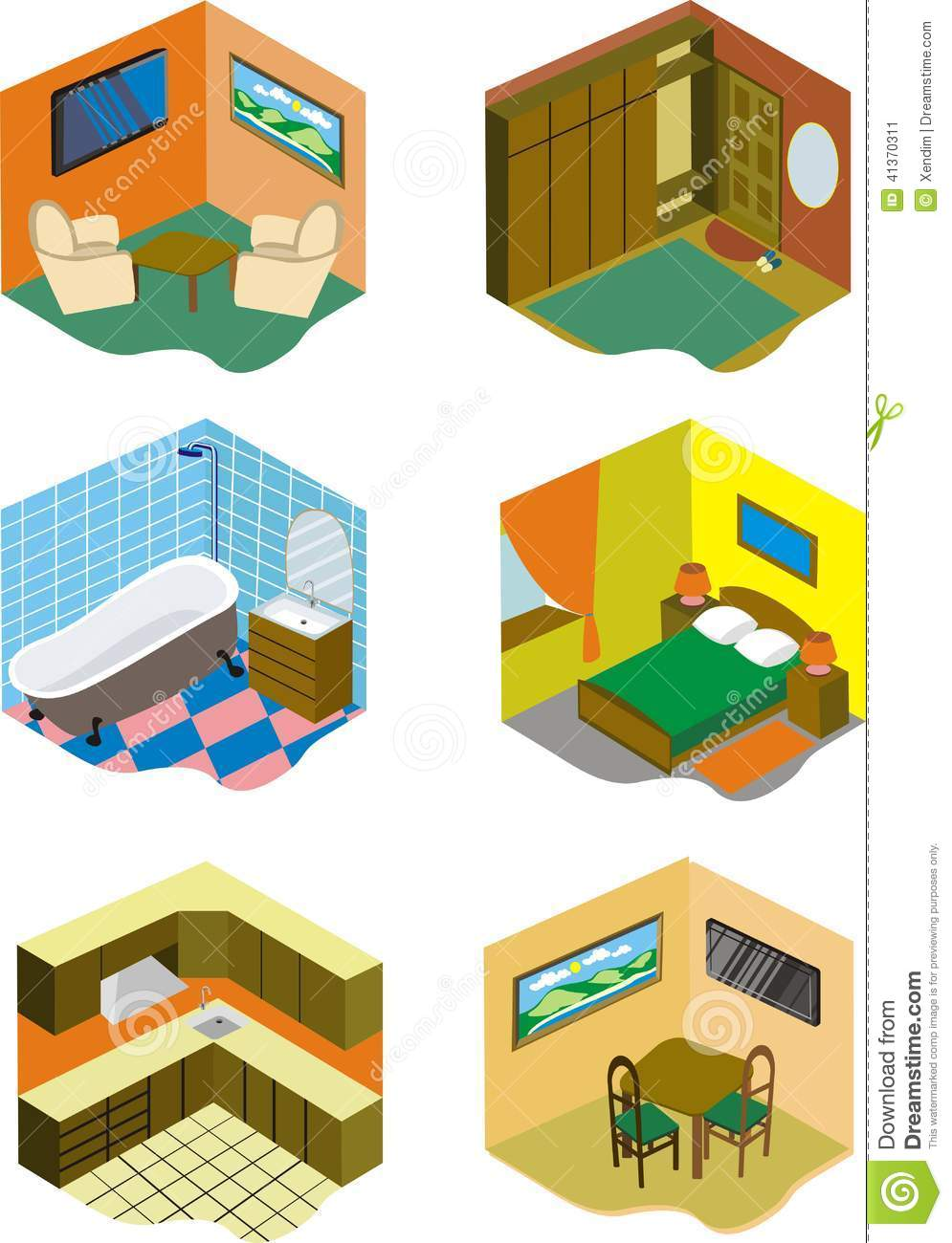 Rooms In House Stock Vector Illustration Of Dinner Bath