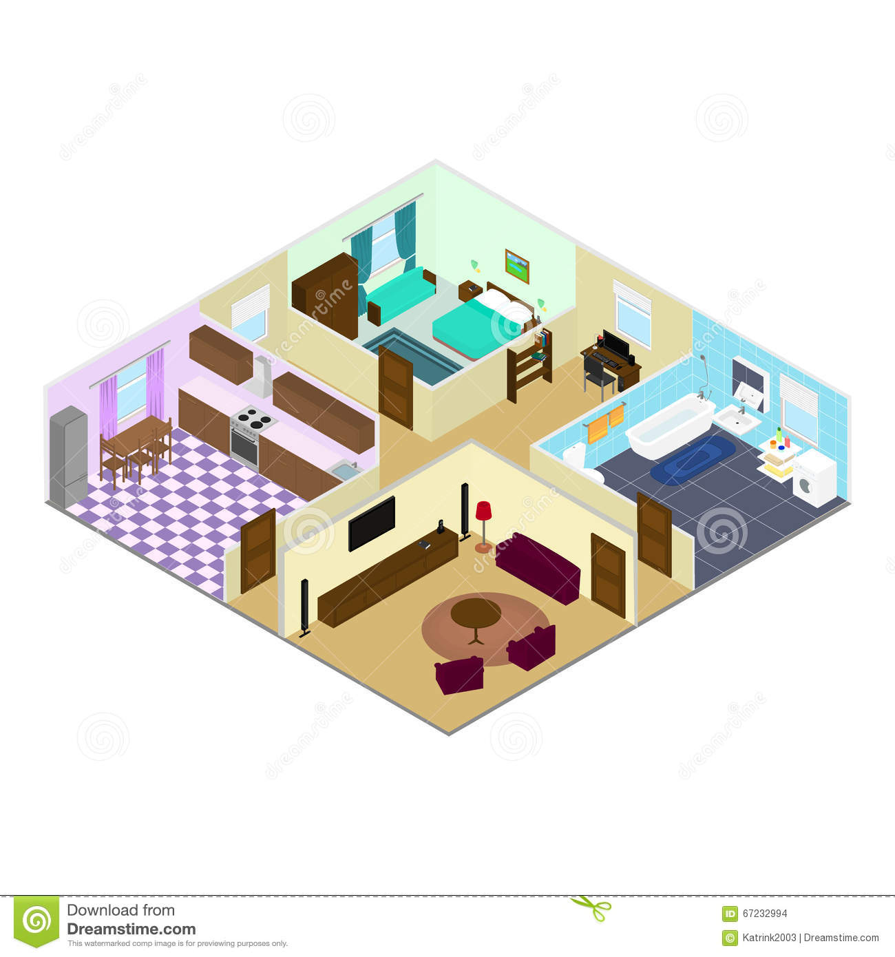 Rooms Inside The House Stock Vector  Illustration Of