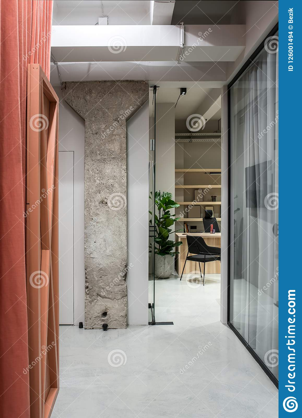 Stylish Interior In Loft Style With Gray Walls Stock Photo Image