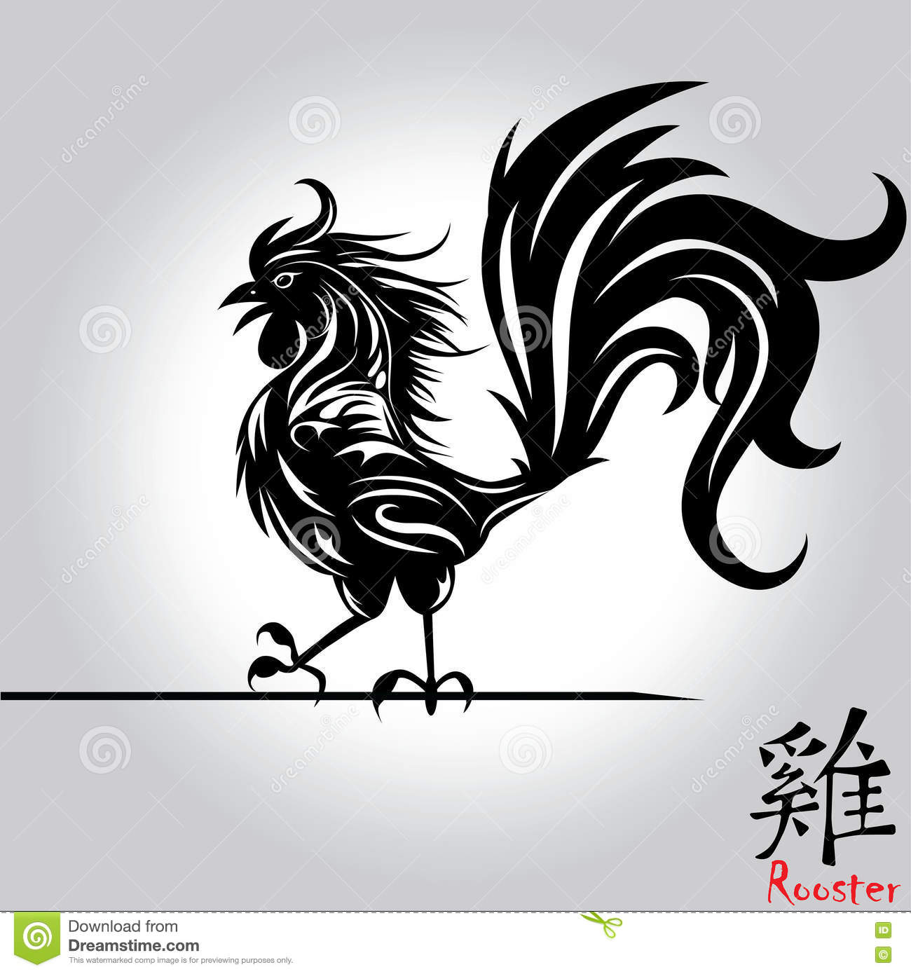 rooster bird tattoo of chinese new year of the rooster grunge file organized in layers for easy. Black Bedroom Furniture Sets. Home Design Ideas