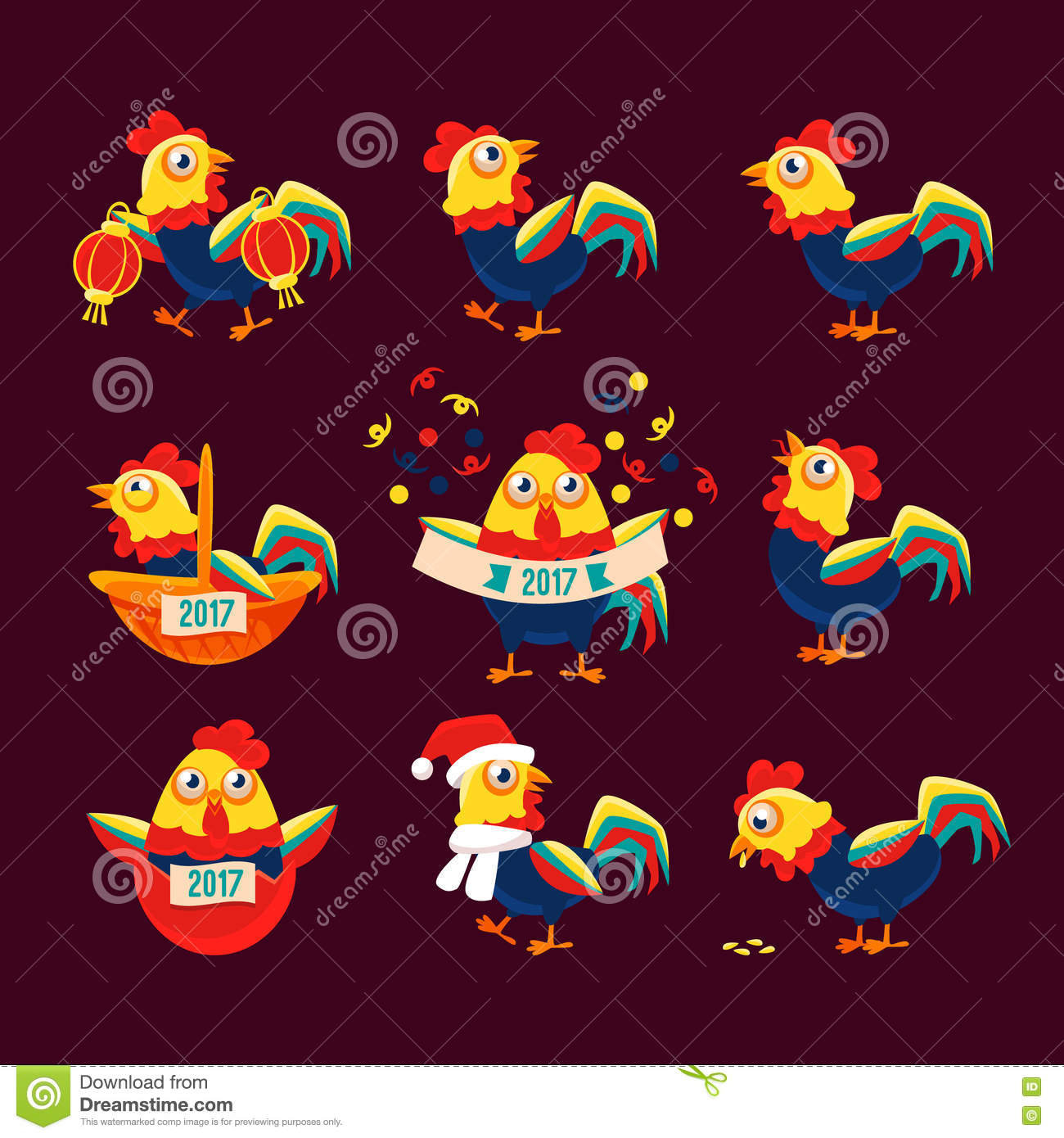 Rooster cartoon character set with a representing chinese zodiac rooster cartoon character set with a representing chinese zodiac symbol of new year 2017 buycottarizona Images