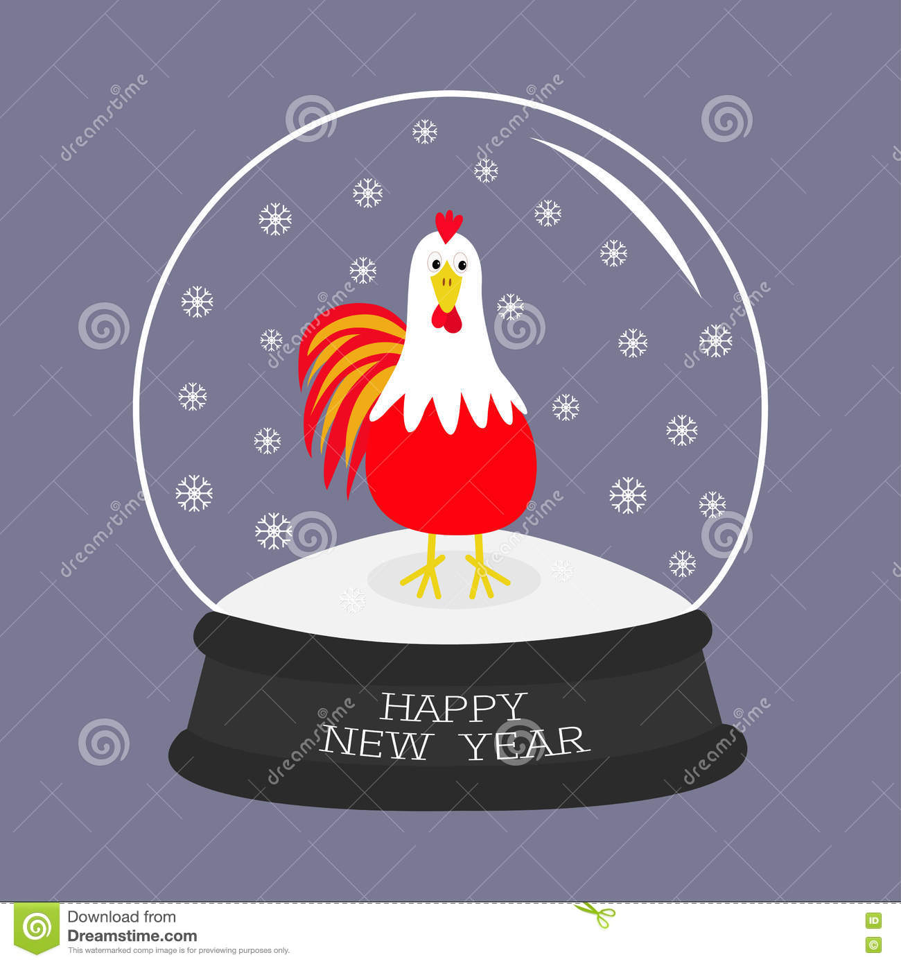 Chinese Calendar Illustration : Chinese new year illustration with cute rooster on red