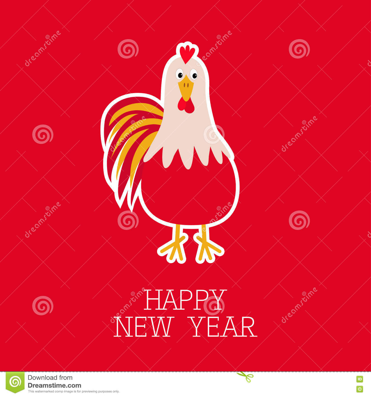 2017 happy new year symbol chinese calendar cute cartoon funny character with