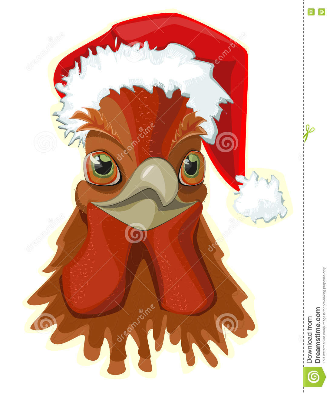 Rooster , head in the hat of Santa Claus ,