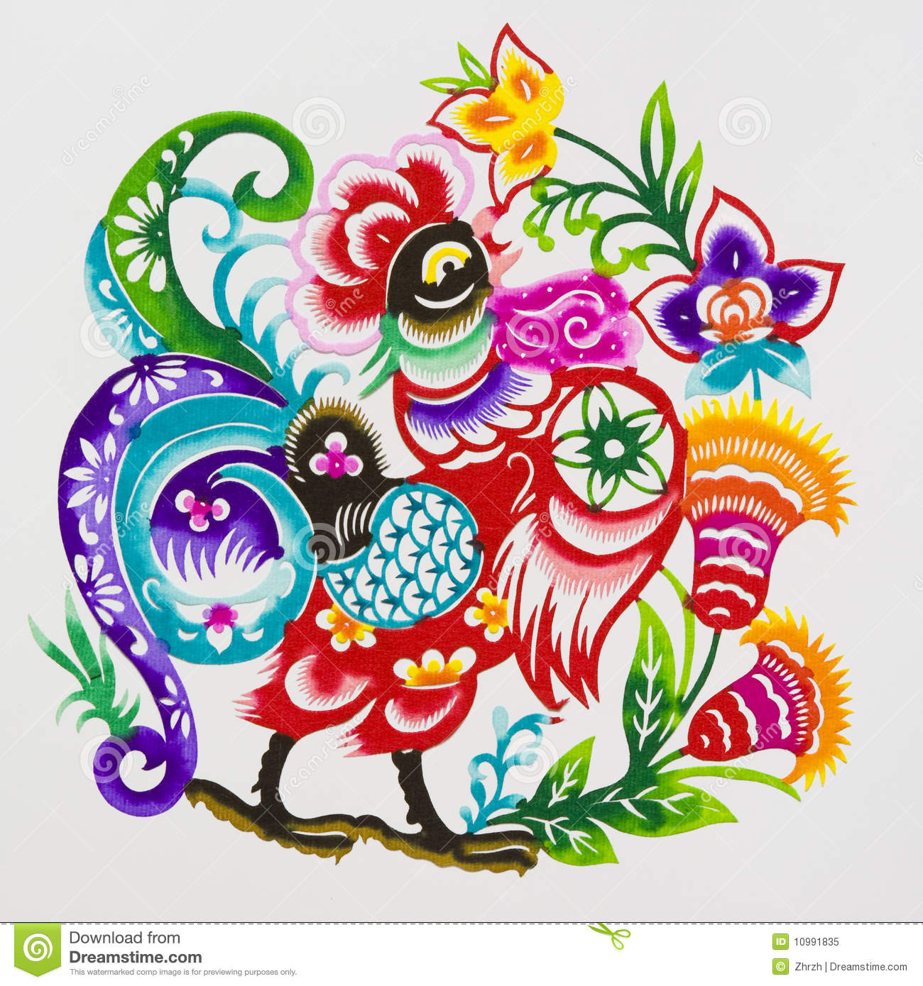rooster color paper cutting chinese zodiac royalty free stock