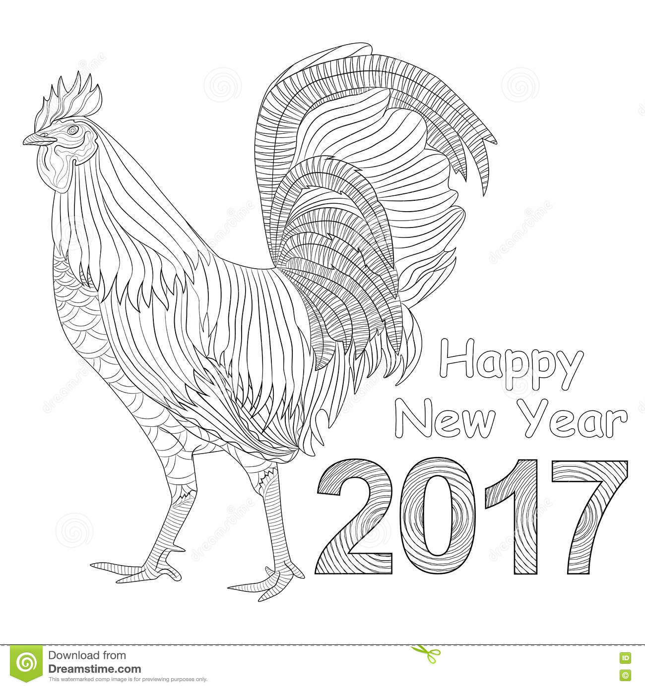 Rooster Coloring Book For Adult Chicken Chinese Zodiac Symbol Of The New Year Design T shirt