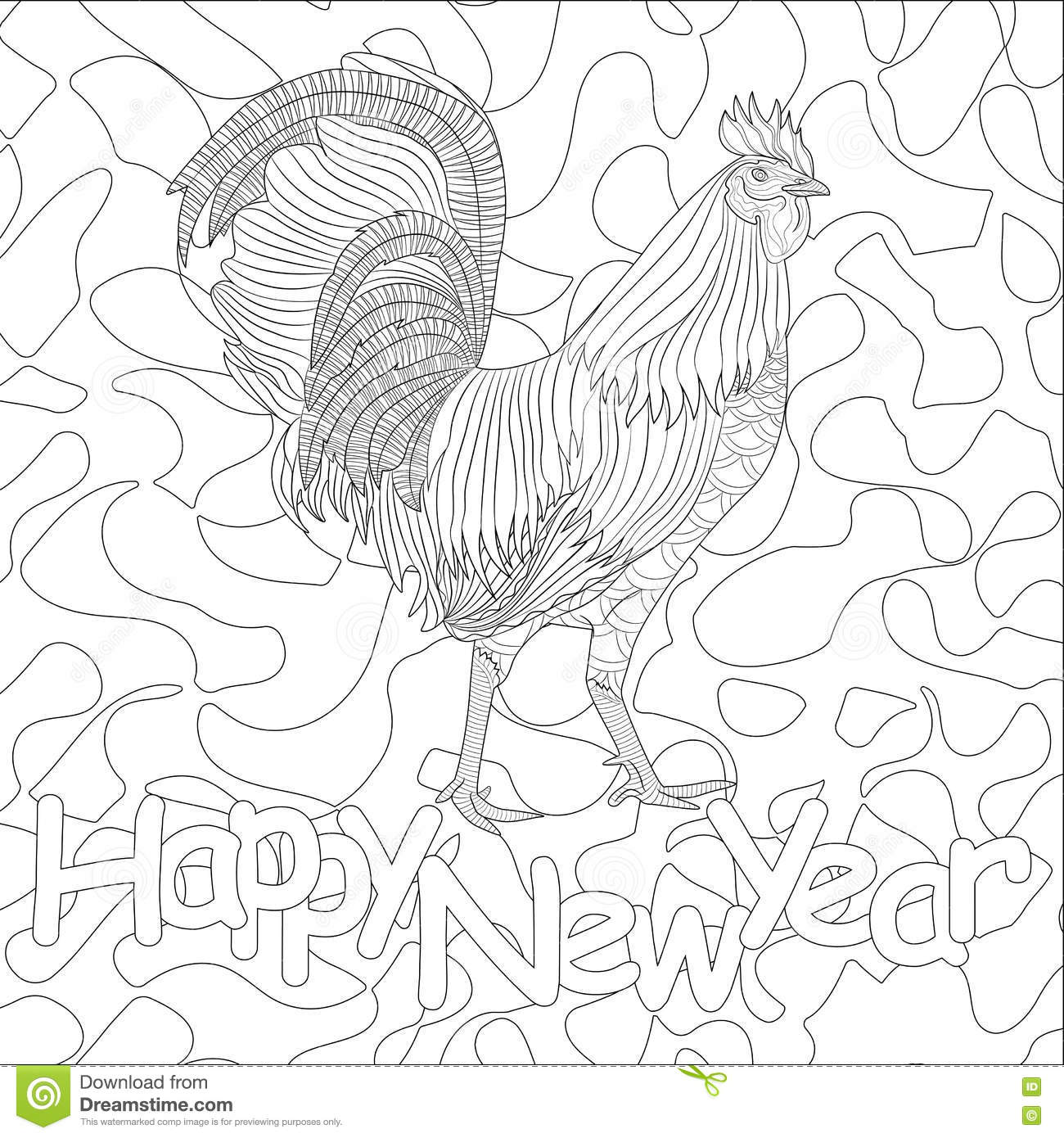 rooster coloring book for chicken chinese zodiac symbol of