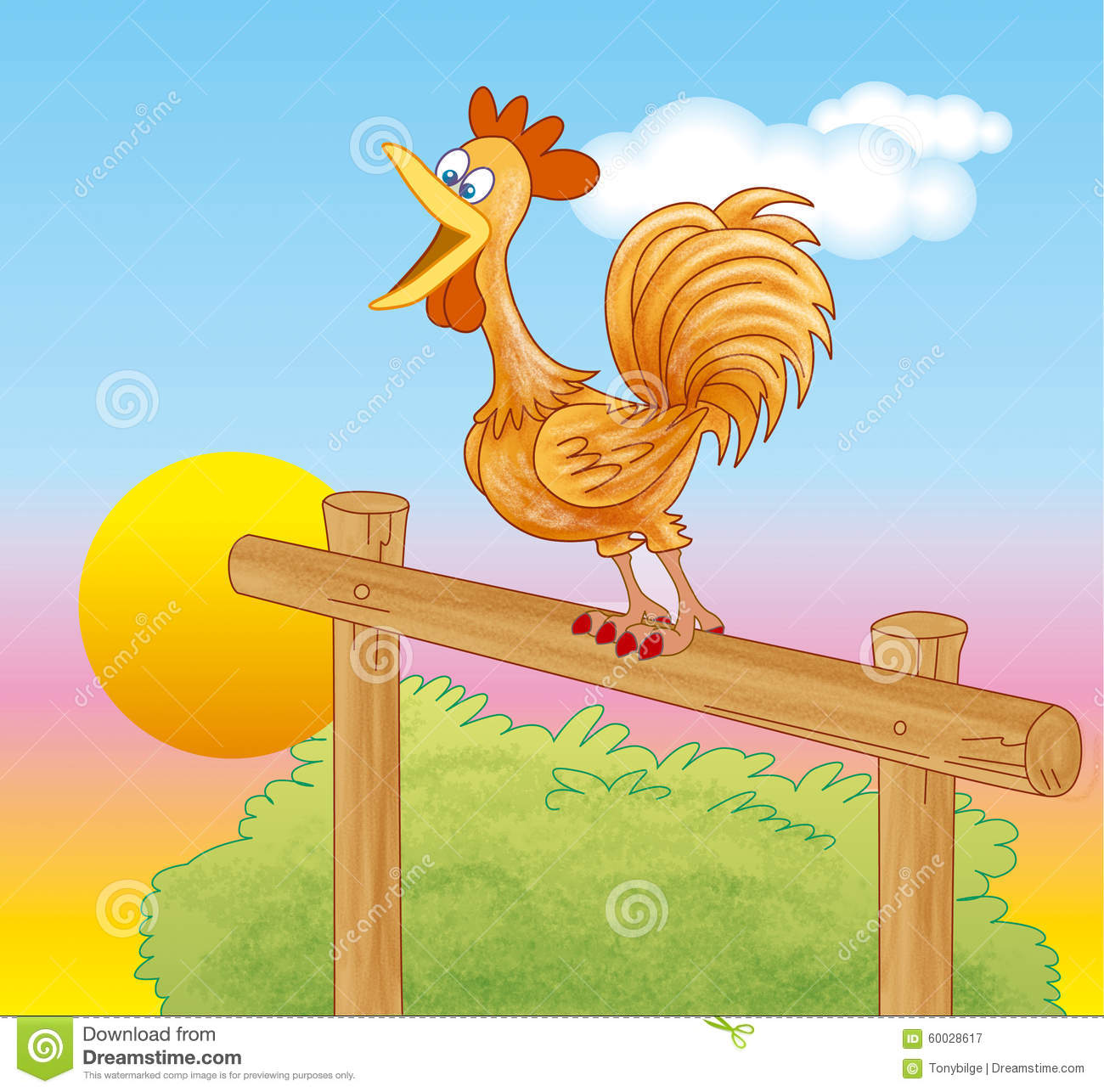 How To Get A Copy Of Your House Plans Rooster Crowing At Dawn Stock Illustration Image 60028617