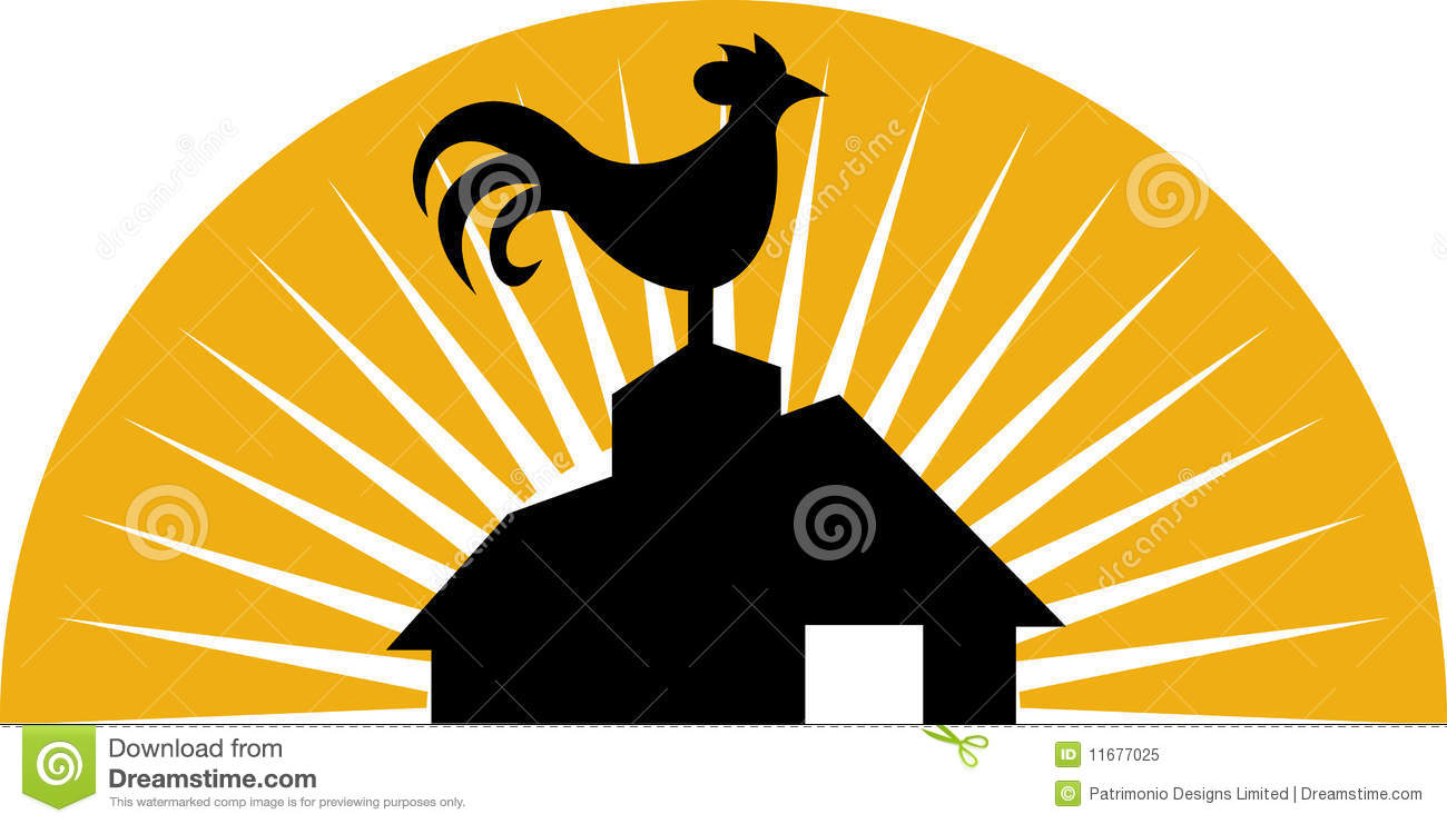 Rooster crowing farm barn house