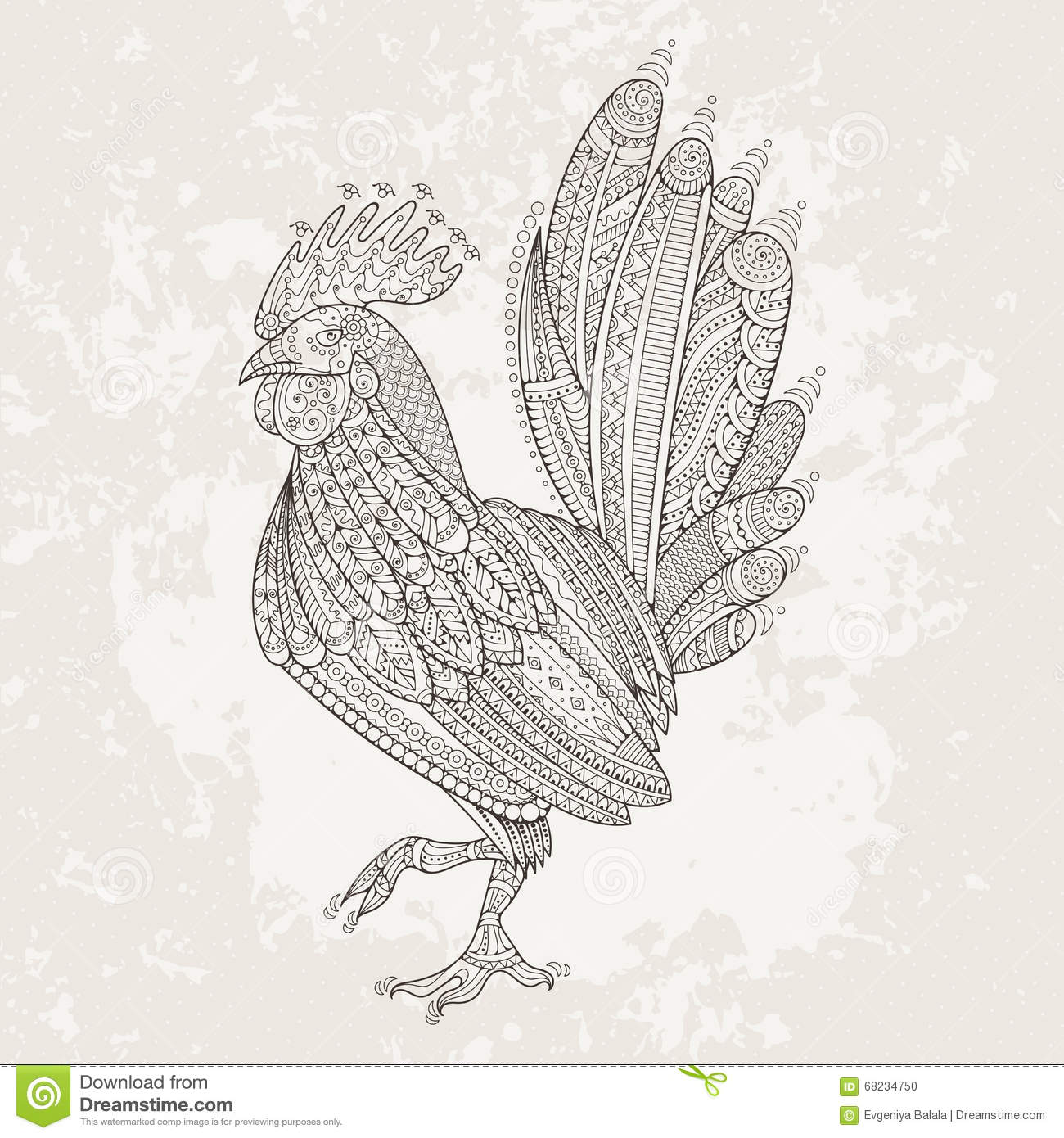 rooster domestic farmer bird for coloring pages zentangle