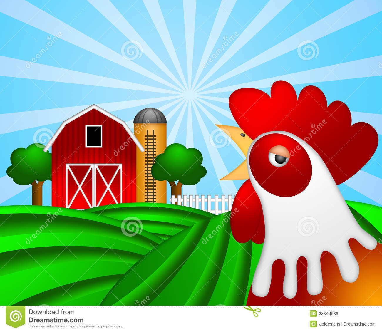 Rooster on Green Pasture with Red Barn Grain Silo